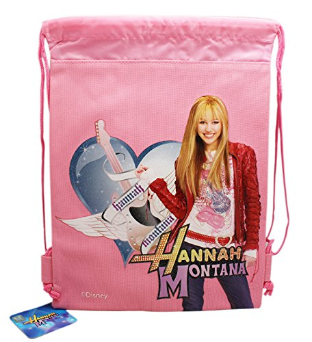 (Disney's Hannah Montana Holding a Guitar Pink Colored Drawstring Backpack )