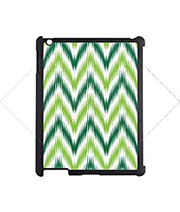 Vintage green stripes Zigzag iPad 2/3/4 Case Protective Back Cover Case for iPad 2/3/4 - Black Case AArt#905