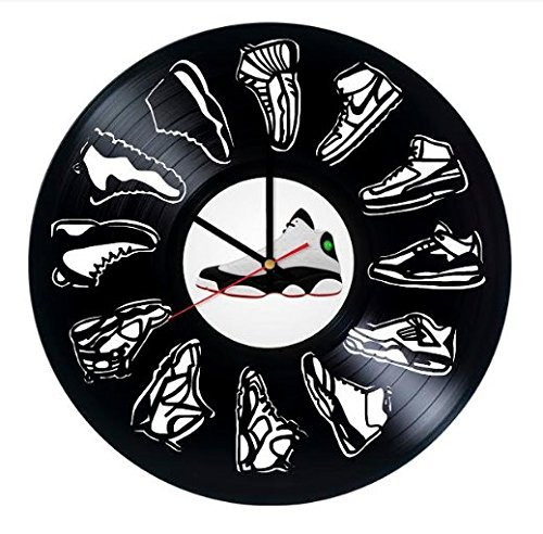 Jordan Shoes Vinyl Record Wall Clock - Get Unique Gifts Presents for Birthday, Christmas, Ideas for Boys, Girls, Men, Women, Adults, him and her (Jordan Wall Clock)