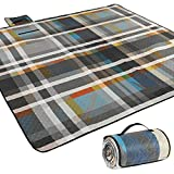 AMMSUN Extra Large Picnic & Beach Blanket Handy Mat Plus Thick Dual Layers Sandproof Waterproof Padding Portable for The Family, Friends, Kids (Colorful, 80'' x 80'')