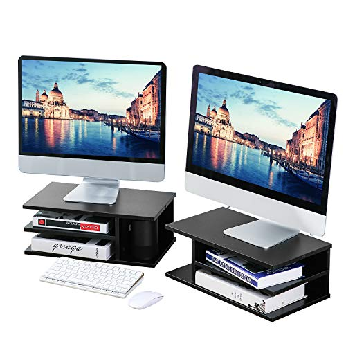 Rfiver Dual Monitor Stand Riser Printer Stand for Desk with Versatile Storage,Black Wood Desktop File Organizer - 2 Pack for Home and Office, DO1003