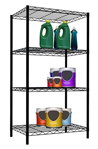 Home Basics Wire Shelving Storage Unit (4 Tier, Black) (Four Tier Shelving)