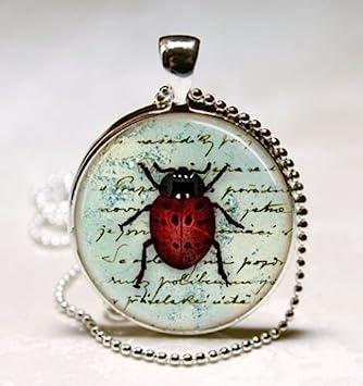 Collar de Ladybug, joyería de insectos, rojo y negro ...
