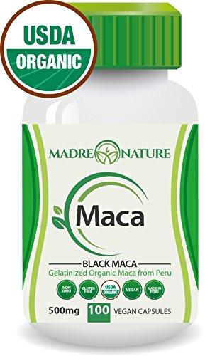 Certifié biologique gélatinisé noir racine de Maca Poudre supplément - 500 mg X 100 gélules (Vegan) - Andes péruviennes - sans Gluten