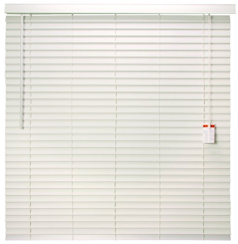 Designer's Touch 883622 Faux Wood 2-Inch Plantation Style Miniblind, 63 by 60-Inch, White ()