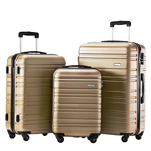 - Luggage Set 3 Piece Set Suitcase set Spinner Hard shell Lightweight (champagne)