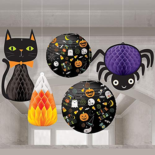 Amscan Friendly Halloween Honeycomb Decorations and Paper Lanterns, 5 Count, Includes a Cat, a Spider, and Candy Corn -