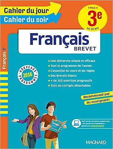 Lire en ligne Cahier du jour/Cahier du soir Français 3e - Nouveau programme 2016 pdf, epub ebook