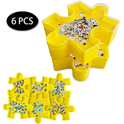 BLLKE 6Pcs Puzzle Storage Boxes with Clear Lid, Stackable Jigsaw Puzzle Sorters Trays, Puzzle-Assisted Classification Yellow: Toys & Games