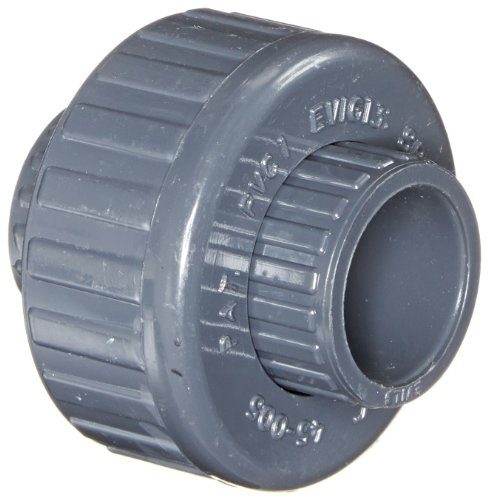 Spears 457-G Series PVC Pipe Fitting, Union with Buna O-Ring, Schedule 40, Gray, 1/2