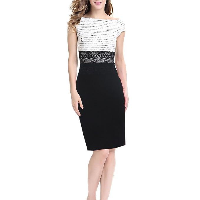 Dxlta Vestidos para mujeres - Vestido de patchwork de encaje sin mangas adelgazan los vestidos de