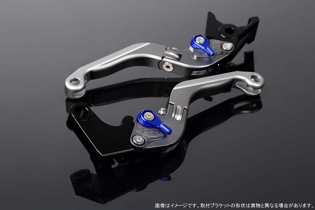 SSK アジャストレバー 可倒延長式 レバー本体カラー:マットチタン アジャスターカラー:マットブルー エクステンションカラー:マットシルバー LVGM066TM-BESR B07MX9R3Q8