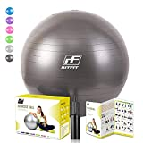 RitFit 2000lbs Exercise Stability Ball by, Anti Burst for Pilates Yoga Gym Fitness and Balance, Hand Pump and Workout Guide Included,Gym Quality and Phthalate Free (BlackNew, 75cm)