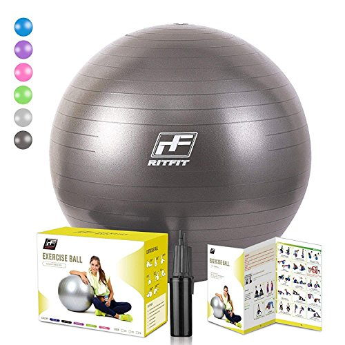 RitFit 2000lbs Exercise Stability Ball by, Anti Burst for Pilates Yoga Gym Fitness and Balance, Hand Pump and Workout Guide Included,Gym Quality and Phthalate Free (BlackNew, 75cm) by RitFit
