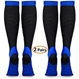 refun Compression Socks for Women & Men (2 Pairs), Graduated Compression Sock 20-30 mmhg for Running, Medical, Sports, Flight Travel, Nurses, Maternity Pregnancy, Shin Splints, Edema, Varicose Veins