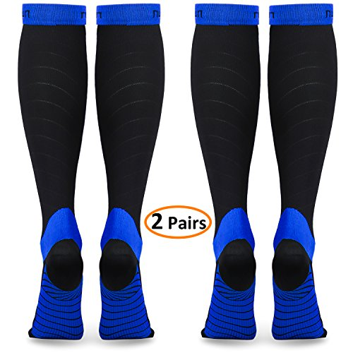 refun Compression Socks for Women & Men (2 Pairs), Graduated Compression Sock 20-30 mmhg for Running, Medical, Sports, Flight Travel, Nurses, Maternity Pregnancy, Shin Splints, Edema, Varicose Veins by refun