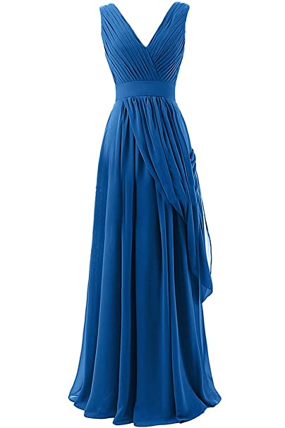 Sunvary a-Line Draped de cuello largo gasa Evening vestidos Homecoming azul azul 20 W