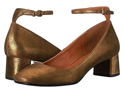 (Coach Women's 45 mm Ankle Strap Pump - Metallic Suede Gold 9 B US)