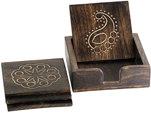 Prime Sale 2016 - Coasters for Drinks - Set of 4 Wooden Coaster Holder - Wood Coasters Square Drink Holders with