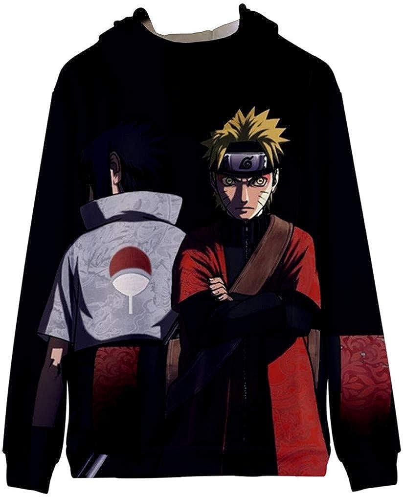 FLYCHEN Boys 3D Printed Long Sleeve Anime Naruto Hooded Sweatshirt Zipper Jacket