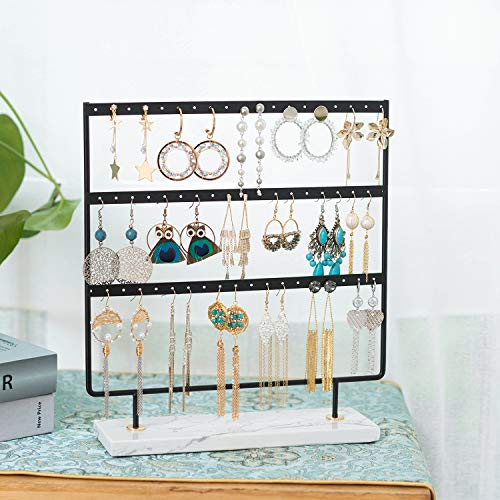 3 Tier Earring Stand Organizer Marble Earring Stand Dangle Earring Holder Jewelry Rack Tower Organizer with Marble Tray for Woman Girls Gift Earring Display (Black)