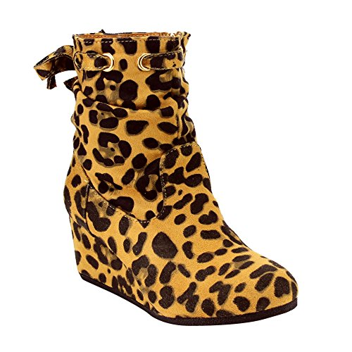 BELLA MARIE AD23 Girl's Toddler Back Lace Up Slouchy Wedge Booties, Color:LEOPARD, Size:4 M US Big Kid (4 Leopard)