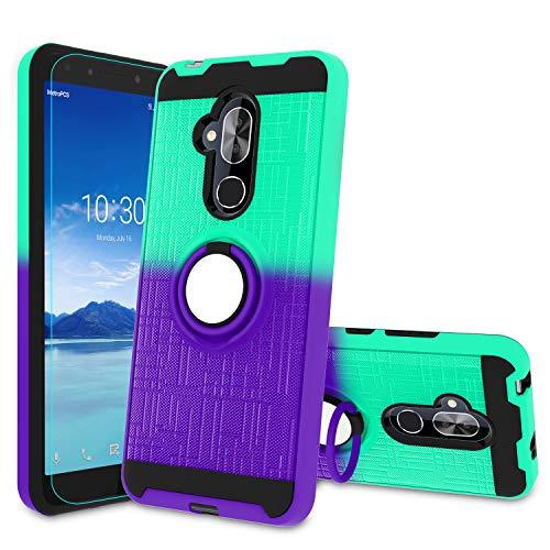 Atump Alcatel 7 Case, Alcatel 7 Folio Case,T-Mobile Revvl 2 Plus Phone Case with HD Screen Protector, 360 Degree Rotating Ring Holder Kickstand Bracket Cover Phone Case for Alcatel 7 Mint/Purple