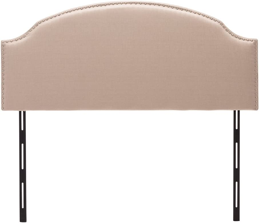 Haobo King Size Headboards Eastern King California King Nailhead Linen Upholstered Headboard with Curved Top Height Adjustments