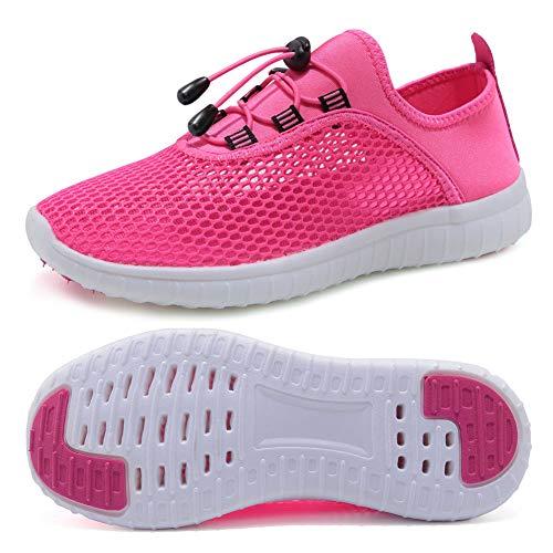 FCKEE Kids Slip-on Quick Dry Lightweight Aqua Water Shoes (Toddler/Little Kid/Big Kid),USFSX05,Rose-30
