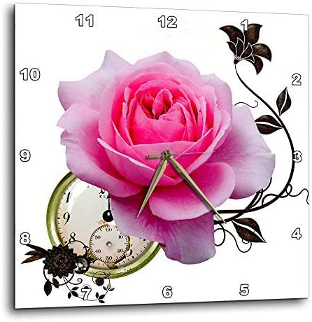 3dRose DPP_102674_2 Steampunk Design Pink Rose and Clock Design-Wall Clock, 13 by 13-Inch