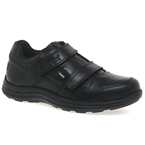 ab1dc97589 Kickers Seasan Strap Junior/Adult Comfy Soft Leather School Velcro Shoes  Black 1-13393