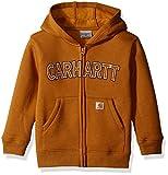 Carhartt Little Boys' Toddler Logo Fleece Zip Sweatshirt, Brown, 3T