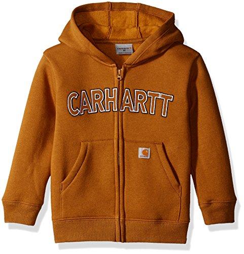 (Carhartt Little Boys' Toddler Logo Fleece Zip Sweatshirt, Carhartt Brown, 3T)