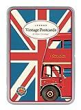 Cavallini Vintage London Glitter Greetings, 12 Assorted Postcards
