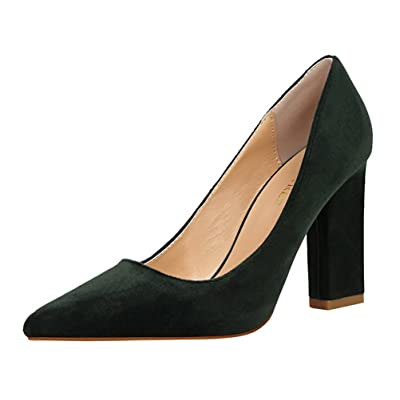 Passionow Women's New Style Plain Pointed Toe Slip-ons Chunky Block Heel Suede Dressy Pumps