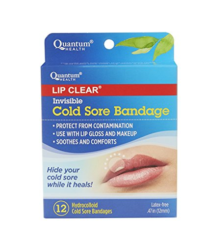 (Quantum Health Lip Clear Invisible Cold Sore Bandage, To Help Soothe, Protect, and Prevent Contamination - 12 Count)