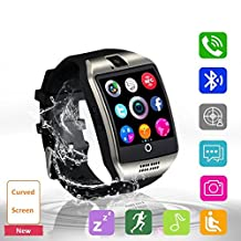 Smartwatch with Bluetooth SIM Card SD Card Plot for Android HTC Sony Samsung LG Google Pixel and iPhone Smartphone Sweatproof (black)