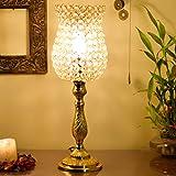 Homesake Classic Golden Crystal Lamp, Antique Table Lamp
