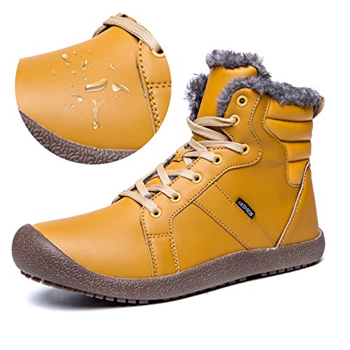 L-RUN Mens Winter Snow Boots Ankle Outdoor Warm Fur Lining