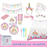 Comfy Mee Unicorn Themed Birthday Party Supplies Set | Disposable...