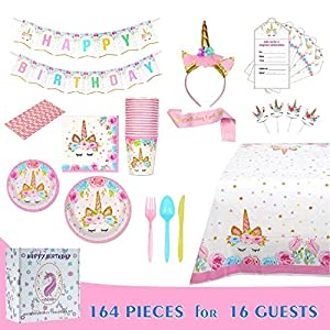 Comfy Mee Unicorn Themed Birthday Party Supplies Set | Disposable Unicorn Decorations | Bonus with Unicorn Headband | No Washing Up | Serves 16