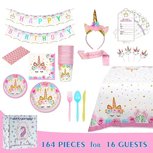 Comfy Mee Unicorn Themed Birthday Party Supplies Set | Disposable Unicorn Decorations | Bonus with Unicorn Headband | No Washing Up | Serves 16 ()