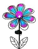 "BRIGHT ZEAL 12"" Wide Metal & Glass Flower LED Solar Garden Stake Lights (Blue & Purple, Crackle Glass Globe, Metal Frame) - Outdoor Landscape Lighting - Solar Lights Outdoor - Yard Decorations 23212"
