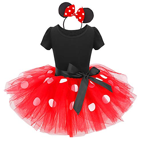 Girls Princess Minnie Polka Dots Birthday Tutu Dress Up Costume Leotard Ballet Gymnastic Skirt +Mouse Ear Clothes Set Red+Black(Big Dots) 6 Years