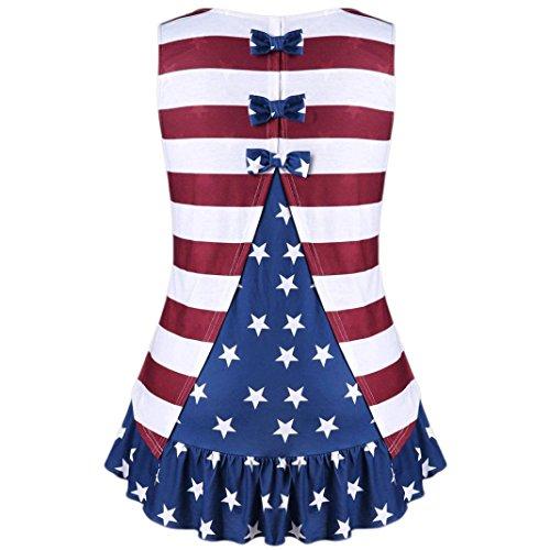 Litetao Tank top, Womens Vest Plus Size American Flag Print Ruffles Bowknot Patriotic Blouse (XL, (Plus Size Workout Video Star Costumes)