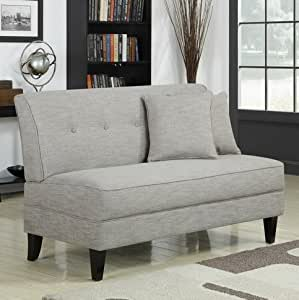 Portfolio Engle Barley Tan Linen Armless Modern Transitional Loveseat With Tapered