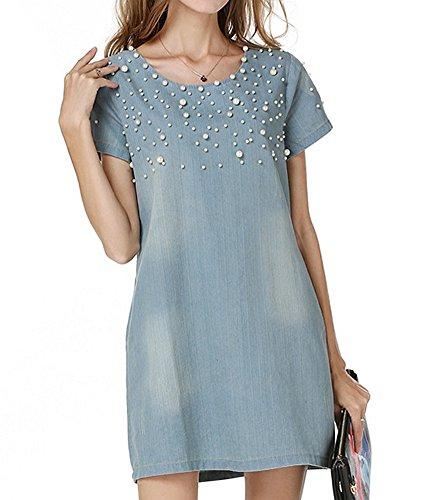 LunaJany Women's Blue Pearl Short Sleeve Zip Back Shift Denim Dress