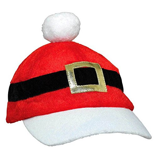 "Price comparison product image Amscan Christmas Santa Baseball Cap Party Supplies, 7"" x 10"", Red/White"