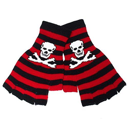 Black Striped Fingerless Gloves (Skull and Crossbones Fingerless Gloves (Black/Red))