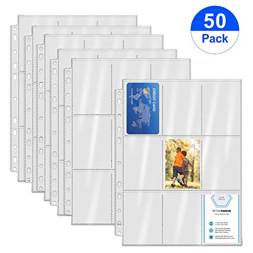 Spnavy 450 Pockets Trading Card Sleeves Storage Album Pages Card Collector Wallet Sleeves Set Transparent Game Card Holder for Skylanders, Pokemon, Top Trumps, Baseball, Football, Basketball Card